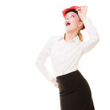 Engineer woman architect in red safety helmet Royalty Free Stock Photo