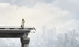 Engineer woman on bridge. Mixed media . Mixed media royalty free stock photos