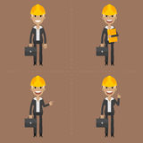 Engineer woman with briefcase in different poses Stock Photos
