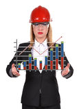 Engineer woman with chart Royalty Free Stock Images