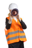 Engineer Woman With Drawing Stock Photos