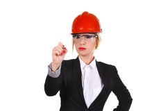 Engineer woman drawing Royalty Free Stock Image