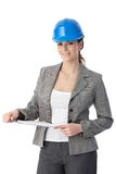 Engineer woman in hardhat Royalty Free Stock Photo
