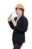 Engineer woman with helmet over white Stock Photos
