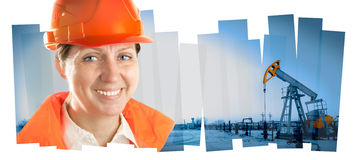Engineer woman in an oil field. Collage composition. stock photos