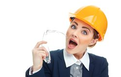 Engineer woman over white background Stock Images