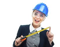 Engineer woman over white background Royalty Free Stock Photos