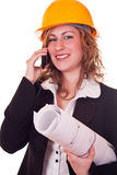 Engineer woman with phone Stock Image