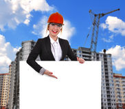 Engineer woman with  poster Stock Photo