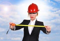 Engineer woman with ruler Stock Photos