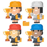 Engineer woman smiling and holding cup Royalty Free Stock Photos