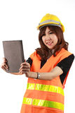 Engineer woman and Tablet in her hand Stock Photo