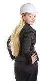 Engineer Woman Turn Round Stock Photo