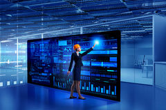 Engineer woman using virtual panel Royalty Free Stock Photography