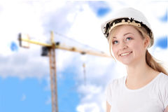 Engineer woman in white helmet Royalty Free Stock Photography
