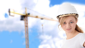 Engineer woman in white helmet Royalty Free Stock Photo