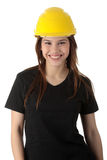 Engineer woman in yellow helmet Stock Images