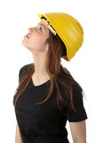Engineer woman in yellow helmet Royalty Free Stock Photography