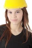 Engineer woman in yellow helmet Royalty Free Stock Photos