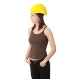 Engineer woman in yellow helmet Stock Images