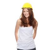 Engineer woman in yellow helmet Stock Photo