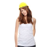 Engineer woman in yellow helmet Stock Image