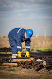 Engineer work in oil refinery Royalty Free Stock Photos