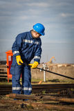 Engineer work in oil refinery Stock Photography