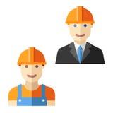Engineer worker flat avatar set Stock Photo