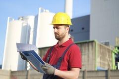 Engineer worker with helmet Stock Image