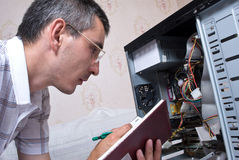 IT Engineer Working. Close-up Royalty Free Stock Photo