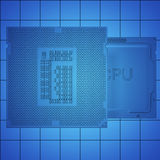Engineer working on blue print, concept Processor Unit CPU, 3d rendering Stock Images