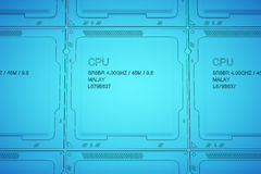 Engineer working on blue print, concept Processor Unit CPU, 3d rendering Stock Image