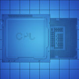 Engineer working on blue print, concept Processor Unit CPU, 3d rendering Royalty Free Stock Photos