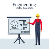 Engineer working on blueprin. T. Engineering drawing, technical scheme.Sketching gear, project. Drawings for production, manufacturing processes. Vector royalty free illustration