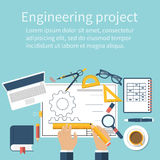 Engineer working on blueprint. Engineering drawing, technical sc Royalty Free Stock Photography