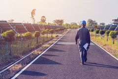 Engineer working on checking and maintenance structure and solar. Panel and find problem to operate at green energy solar power plant royalty free stock photos