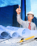 Engineer working on construction theme background Stock Photography