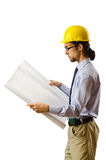 Engineer working with drawings Stock Photos