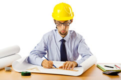 Engineer working with drawings Royalty Free Stock Image
