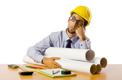 Engineer working with drawings Royalty Free Stock Images
