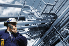 Engineer working inside oil industry Stock Photo