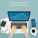 Engineer working on laptop computer with blueprint on screen. Flat design vector illustration Stock Photos