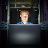 IT Engineer working on a laptop Royalty Free Stock Photography