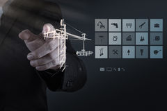 Engineer working with new computer interface show building devel Stock Image
