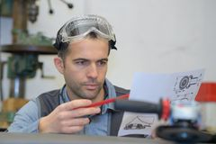 Engineer working on project stock photo