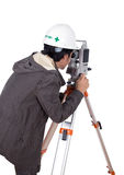 Engineer working with survey equipment theodolite Royalty Free Stock Image