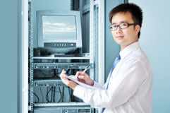 IT engineer working by Yufei. Work in the IT engineer, very seriously Royalty Free Stock Images