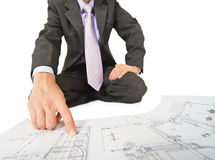 Engineer works with drawings close-up Royalty Free Stock Photo