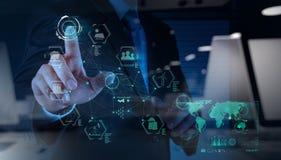 Engineer works industry diagram on virtual computer Royalty Free Stock Image